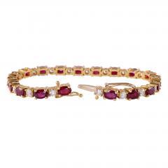 12 0 CTW Ruby and 2 50 CTW Diamond 18K Line Bracelet - 2007472