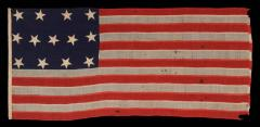 13 Entirely Hand Sewn Stars U S Navy Small Boat Ensign of the Civil War Period - 648451