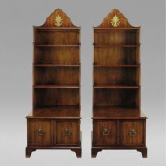 Pair Of Mahogany Tall Bookshelf Cabinets By Morganton   12934