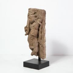 13th Century Indian Sandstone Stele Figure Dancing Goddess Antiquity Fragment - 1949933