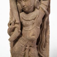 13th Century Indian Sandstone Stele Figure Dancing Goddess Antiquity Fragment - 1949937