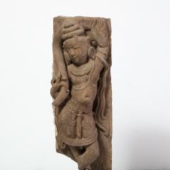 13th Century Indian Sandstone Stele Figure Dancing Goddess Antiquity Fragment - 1949944