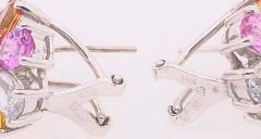 14 Karat Gold Pierced Earrings Multicolored Diamond and Semi Precious Stones - 1244569