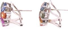14 Karat Gold Pierced Earrings Multicolored Diamond and Semi Precious Stones - 1244570