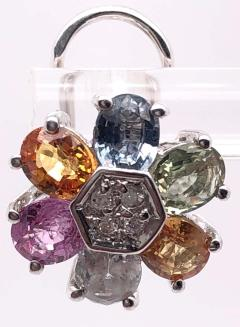 14 Karat Gold Pierced Earrings Multicolored Diamond and Semi Precious Stones - 1244571
