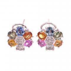 14 Karat Gold Pierced Earrings Multicolored Diamond and Semi Precious Stones - 1245510