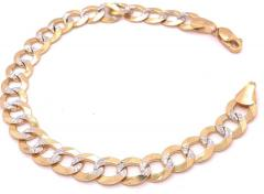 14 Karat Two Tone White and Yellow Gold Fancy Link Bracelet - 1244496
