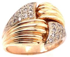 14 Karat Two Tone Yellow and White Gold Fashion Ring with Cubic Zircon - 1241606