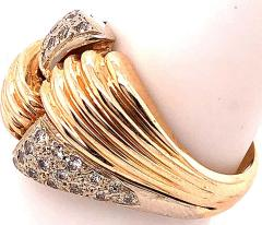 14 Karat Two Tone Yellow and White Gold Fashion Ring with Cubic Zircon - 1241608