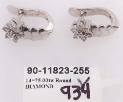 14 Karat White Gold Diamond Latch Back Free Form Earrings - 1245313
