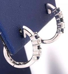 14 Karat White Gold Free Style Sapphire and Diamond Hoop Earrings - 1246708