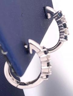 14 Karat White Gold Free Style Sapphire and Diamond Hoop Earrings - 1246709