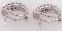 14 Karat White Gold French Back Half Hoop Ruby and Diamond Earrings - 1244252