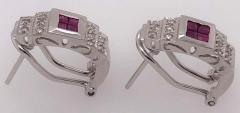 14 Karat White Gold French Back Half Hoop Ruby and Diamond Earrings - 1244253