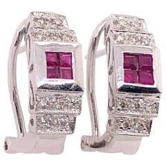14 Karat White Gold French Back Half Hoop Ruby and Diamond Earrings - 1244255