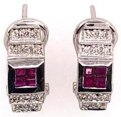 14 Karat White Gold French Back Half Hoop Ruby and Diamond Earrings - 1244257