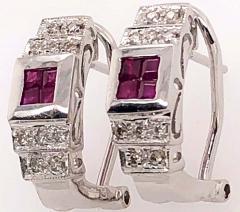 14 Karat White Gold French Back Half Hoop Ruby and Diamond Earrings - 1244259