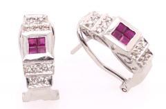 14 Karat White Gold French Back Half Hoop Ruby and Diamond Earrings - 1244260