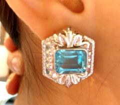 14 Karat White Gold French Back Huggie Earrings with Blue Topaz - 1239760