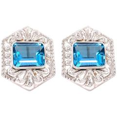 14 Karat White Gold French Back Huggie Earrings with Blue Topaz - 1239761