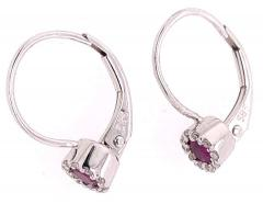 14 Karat White Gold Latch Back Ruby Drop Earrings with Diamond Accents - 1245278