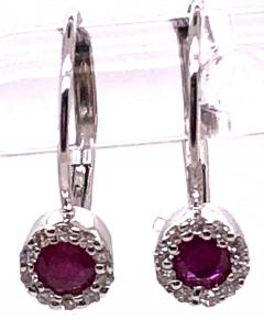 14 Karat White Gold Latch Back Ruby Drop Earrings with Diamond Accents - 1245281