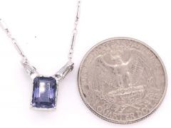 14 Karat White Gold Pendant Necklace with One Square Cushion Tanzannite - 1244686