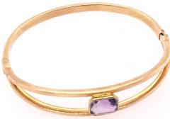 14 Karat Yellow Gold 7 8 Fancy Link Bangle with Square Amethyst Solitaire - 1245652