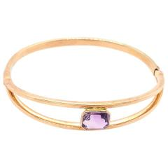 14 Karat Yellow Gold 7 8 Fancy Link Bangle with Square Amethyst Solitaire - 1245653