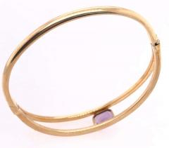 14 Karat Yellow Gold 7 8 Fancy Link Bangle with Square Amethyst Solitaire - 1245655