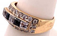 14 Karat Yellow Gold Black Onyx and Diamond Band Ring Wedding Bridal - 1241701