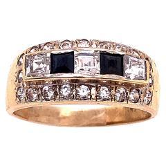 14 Karat Yellow Gold Black Onyx and Diamond Band Ring Wedding Bridal - 1241702