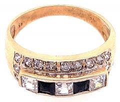 14 Karat Yellow Gold Black Onyx and Diamond Band Ring Wedding Bridal - 1241703