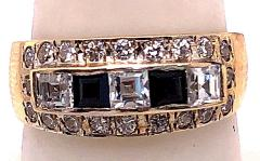 14 Karat Yellow Gold Black Onyx and Diamond Band Ring Wedding Bridal - 1241705