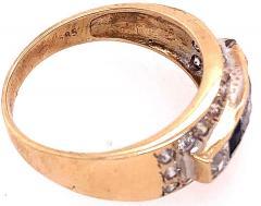 14 Karat Yellow Gold Black Onyx and Diamond Band Ring Wedding Bridal - 1241706