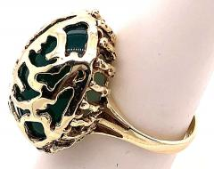 14 Karat Yellow Gold Oval Green Onyx with Filigree Overlay Solitaire Ring - 1241654
