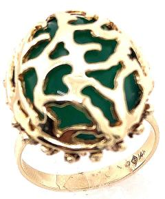 14 Karat Yellow Gold Oval Green Onyx with Filigree Overlay Solitaire Ring - 1241658