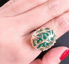 14 Karat Yellow Gold Oval Green Onyx with Filigree Overlay Solitaire Ring - 1241659