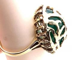 14 Karat Yellow Gold Oval Green Onyx with Filigree Overlay Solitaire Ring - 1241661