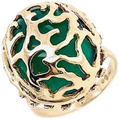 14 Karat Yellow Gold Oval Green Onyx with Filigree Overlay Solitaire Ring - 1241662