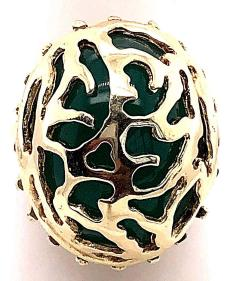 14 Karat Yellow Gold Oval Green Onyx with Filigree Overlay Solitaire Ring - 1241663