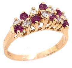 14 Karat Yellow Gold Ruby and Diamond Fashion Ring - 1246855