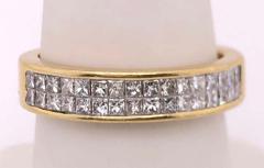14 Karat Yellow Gold and Double Row Cushion Cut Diamond Wedding Band Ring - 1246517