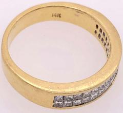 14 Karat Yellow Gold and Double Row Cushion Cut Diamond Wedding Band Ring - 1246522