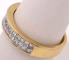 14 Karat Yellow Gold and Double Row Cushion Cut Diamond Wedding Band Ring - 1246523