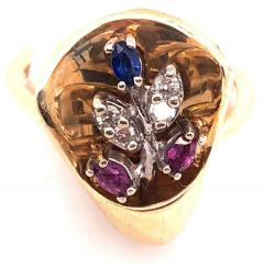 14 Karat Yellow and White Gold with Semi Precious Stones Free Form Ring - 1243727