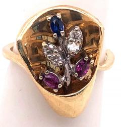 14 Karat Yellow and White Gold with Semi Precious Stones Free Form Ring - 1243732