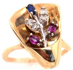 14 Karat Yellow and White Gold with Semi Precious Stones Free Form Ring - 1243735