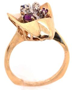 14 Karat Yellow and White Gold with Semi Precious Stones Free Form Ring - 1243739