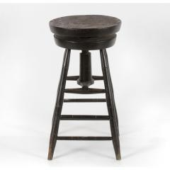 Rare Swiveling Windsor Stool in Black Paint ca 1820 1840 - 14880